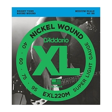 D'Addario XL Nickel Wound Bass String Set Medium Scale - 4-String 40-095 Super Light EXL220M