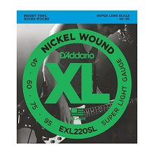 D'Addario XL Nickel Wound Bass String Set Super Long Scale - 4-String 40-095 Super Light EXL220SL