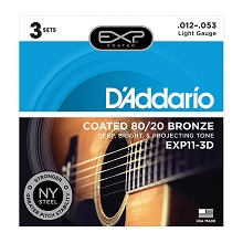 D'Addario EXP Coated 80/20 Bronze Acoustic Guitar String Sets 12-53 Light EXP11-3D 3-Pack