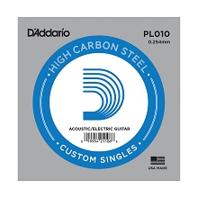 D'Addario Plain Steel Single Acoustic / Electric Guitar String .010p