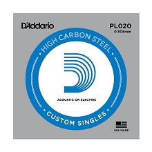 D'Addario Plain Steel Single Acoustic / Electric Guitar String .020p