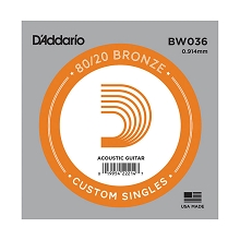 D'Addario 80/20 Bronze Single Acoustic Guitar String .036w