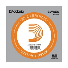 D'Addario 80/20 Bronze Single Acoustic Guitar String .056w
