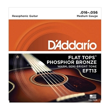 D'Addario Flat Top Phosphor Bronze Acoustic Guitar String Set 16-56 Medium EFT13