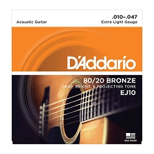 D'Addario 80/20 Bronze Acoustic Guitar String Set 10-47 Extra-Light EJ10
