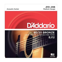 D'Addario 80/20 Bronze Acoustic Guitar String Set 13-56 Medium EJ12