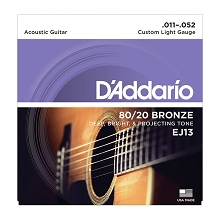 D'Addario 80/20 Bronze Acoustic Guitar String Set 11-52 Custom Light EJ13