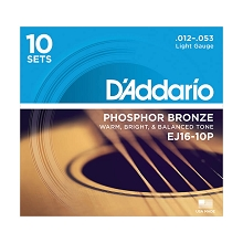 D'Addario Phosphor Bronze Acoustic Guitar String Set 12-53 Light EJ16-10P 10-Pack