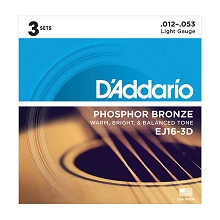 D'Addario Phosphor Bronze Acoustic Guitar String Sets 12-53 Light EJ16-3D 3-Pack