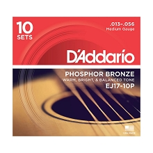 D'Addario Phosphor Bronze Acoustic Guitar String Sets 13-56 Medium EJ17-10P 10-Pack