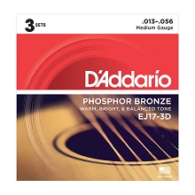 D'Addario Phosphor Bronze Acoustic Guitar String Sets 13-56 Medium EJ17-3D 3-Pack