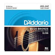 D'Addario 80/20 Bronze Acoustic Guitar String Set 10-47 12-String Light EJ36