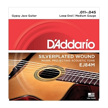 D'Addario Silver-Plated Copper Gypsy Jazz Acoustic Guitar String Set 11-45 Loop End Medium EJ84M