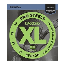 D'Addario ProSteels Stainless Steel Bass String Set Long Scale - 4-String Tapered 43-107T EPS300