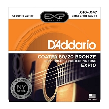 D'Addario EXP Coated 80/20 Bronze Acoustic Guitar String Set 10-47 Extra-Light EXP10