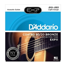 D'Addario EXP Coated 80/20 Bronze Acoustic Guitar String Set 12-53 Light EXP11