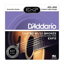 D'Addario EXP Coated 80/20 Bronze Acoustic Guitar String Set 11-52 Custom Light EXP13