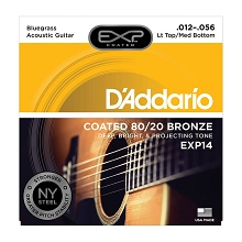D'Addario EXP Coated 80/20 Bronze Acoustic Guitar String Set 12-56 LT/HB Bluegrass EXP14