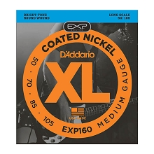 D'Addario EXP Coated XL Nickel Bass String Set Long Scale - 4-String 50-105 Medium EXP160