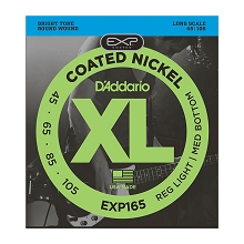 D'Addario EXP Coated XL Nickel Bass String Set Long Scale - 4-String 45-105 Custom Light EXP165