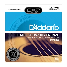 D'Addario EXP Coated Phosphor Bronze Acoustic Guitar String Set 12-53 Light EXP16