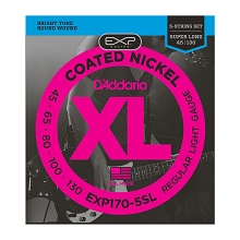 D'Addario EXP Coated XL Nickel Bass String Set Super Long Scale - 5-String 45-130 Light EXP170-5SL