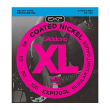 D'Addario EXP Coated XL Nickel Bass String Set Super Long Scale - 4-String 45-100 Light EXP170SL