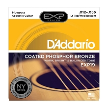 D'Addario EXP Coated Phosphor Bronze Acoustic Guitar String Set 12-56 LT/HB Bluegrass EXP19
