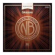 D'Addario Nickel Bronze Single Acoustic Guitar String .032w