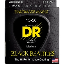 DR Black Beauties Coated Phosphor Bronze Acoustic Guitar String Set - 13-56 Medium BKA-13