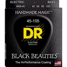 DR Black Beauties Black Coated Round Wound Round Core Electric Bass Strings Long Scale Set - 4-String 45-105 BKB-45