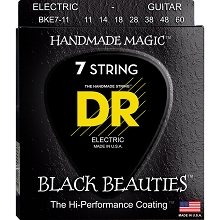 DR Black Beauties K3 Black Coated Electric Guitar String Set - 11-60 7-String Heavy BKE7-11