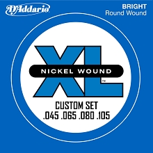 D'Addario XL Nickel Wound Bass String Set Long Scale - 4-String 45-65-80-105 Custom