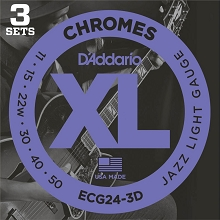 D'Addario Chromes Flatwound Guitar String Sets 11-50 3-Pack Jazz Light ECG24-3D
