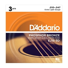 D'Addario Phosphor Bronze Acoustic Guitar String Sets 10-47 Extra-Light EJ15-3D 3-Pack