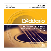 D'Addario Phosphor Bronze Acoustic Guitar String Set 12-56 Bluegrass EJ19