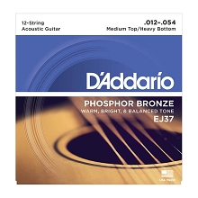 D'Addario Phosphor Bronze Acoustic Guitar String Set 12-54 12-String Medium Top / Heavy Bottom EJ37