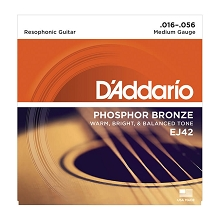 D'Addario Phosphor Bronze Resonator Guitar String Set 16-56 EJ42