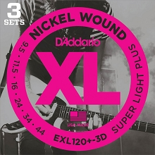 D'Addario XL Nickel Wound Electric Guitar String Sets 09.5-44 3-Pack Super Light Plus EXL120+-3D