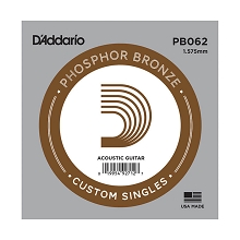 D'Addario Phosphor Bronze Single Acoustic Guitar String .062w