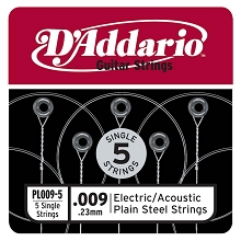 D'Addario 5-Pack Plain Steel Single Acoustic / Electric Guitar Strings .009p
