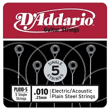 D'Addario 5-Pack Plain Steel Single Acoustic / Electric Guitar Strings .010p