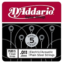 D'Addario 5-Pack Plain Steel Single Acoustic / Electric Guitar Strings .011p