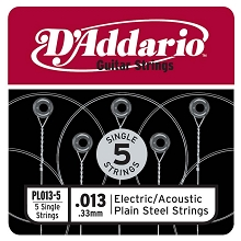 D'Addario 5-Pack Plain Steel Single Acoustic / Electric Guitar Strings .013p