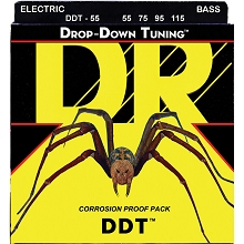 DR DDT Drop Down Tuning Stainless Steel Electric Bass Strings Long Scale Set - 4-String 55-115 DDT-55