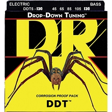 DR DDT Drop Down Tuning Stainless Steel Electric Bass Strings Long Scale Set - 5-String 45-130 DDT5-130