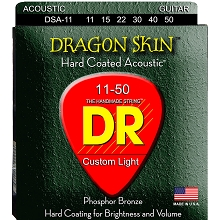 DR Dragon Skin Coated Phosphor Bronze Acoustic Guitar String Set - 11-50 Custom Light DSA-11