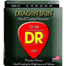 DR Dragon Skin Coated Phosphor Bronze Acoustic Guitar String Set - 12-54 Light DSA-12