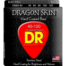 DR Dragon Skin Coated Stainless Steel Electric Bass Strings Long Scale Set - 5-String 40-120 DSB5-40