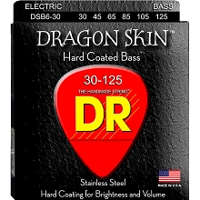 DR Dragon Skin Coated Stainless Steel Electric Bass Strings Long Scale Set - 6-String 30-125 DSB6-30